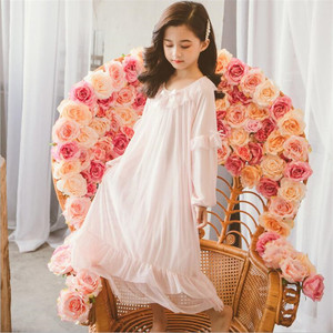 Spring Teenage Girls Pink Bow Tulle Long Nightgown Girl Bow Sleepwear Dress Chidren Night Gown(China)