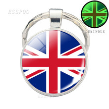 Europe National Flag luminous keychain France Italy Spain Poland  Russia Country Glass Cabochon Jewelry