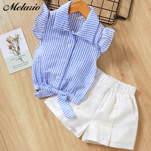 Melario Casual Girls Clothing Sets Fashion Kids Clothing Sets Cute Letter Print T-shirt Short suit 2Pcs Children Girls Clothes недорого