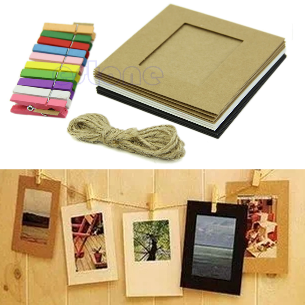10x 3Inch DIY Flim Hanging Wall Picture Paper Photo Album Kraft Frame+Rope+Clips DXAC