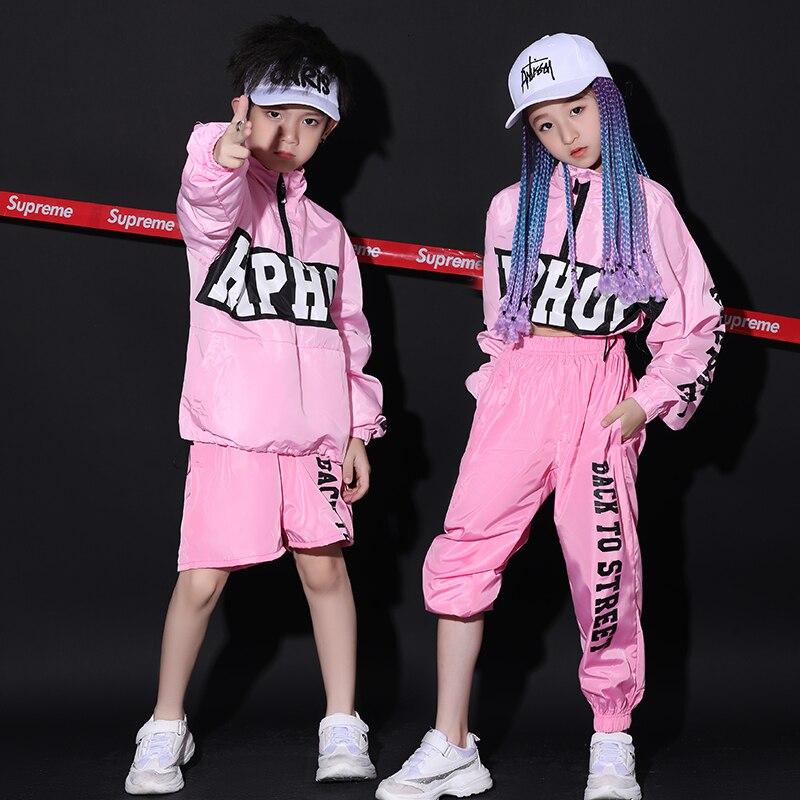Less Children Hip Hop Pink Colour Loose Coat Jacket Bring Back The Feet Pants Hiphop Hip Hop Show Serve Suit