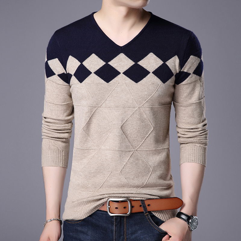 New Arrival Spring Autumn Mens Fashion Plaid Slim Fit Knit  Sweater Casual Male Long Sleeve Basic Knit Sweater Free Shipping