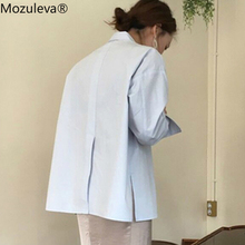 Mozuleva Vintage Back Split Women Blouses Shirts