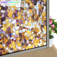цена на 30/45/60/90 cm x 1/2/3 m Stained Frosted Privacy Window Glass Film Static Cling Self-adhesive Stones design Decor Window Sticker