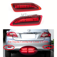 MIZIAUTO 1Pair Rear Bumper Reflector Light For Toyota Corolla/For Lexus CT200h Red Bulb Warning Brake Tail Lamp Car Accessories