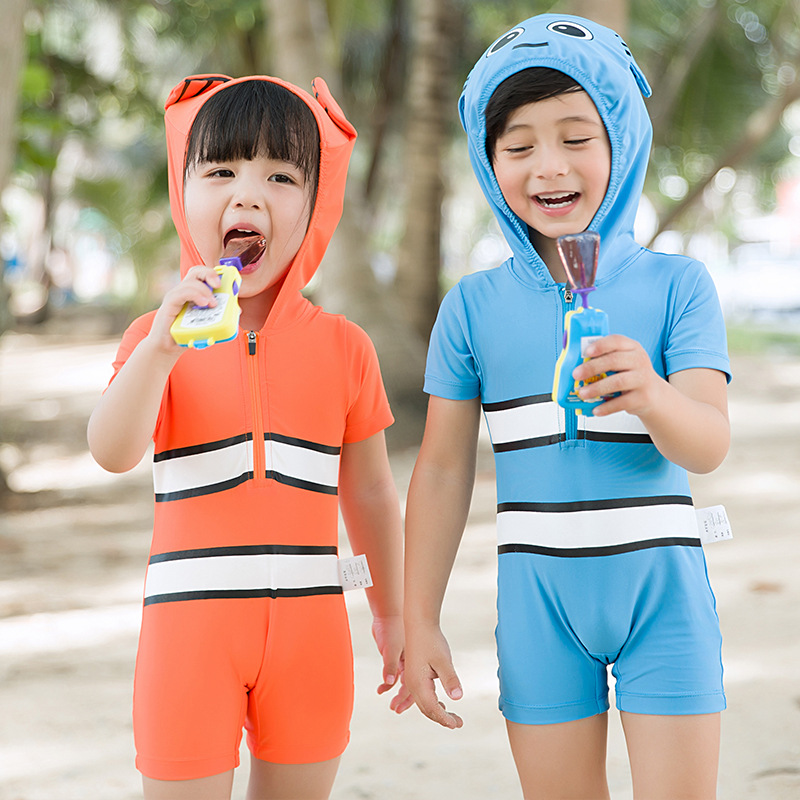2020 New Style Children Baby One-piece Swimming Suit BOY'S Small CHILDREN'S Boxer Hot Springs Swimming Trunks Swimwear Cute Cart