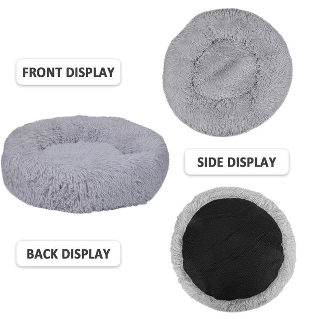 Warm Pet Dog Bed Soft Long Plush Kennel Round Fluffy Cat Mat Sofa House  Comfortable Sleeping Cushion Washable Puppy Winter 3