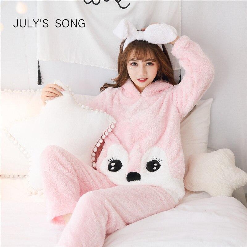 JULY'S SONG Woman Flannel Pajamas Set Winter Pink Cute Cartoon Animal Pajamas Thick Sleepwear Woman Casual Homewear