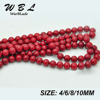 Top Quality Natural Stone Red Coral Beads Round Loose Beads Wholesale 4mm 6mm 8mm 10mm For DIY Bracelet Necklace Jewelry Making image