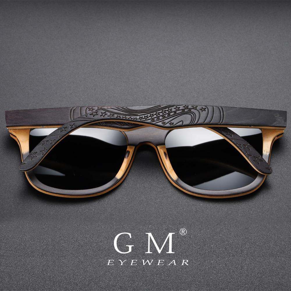 GM Wood Sunglasses Eyewear Retro Vintage Polarized Brand Designer Black S5832 Skateboard