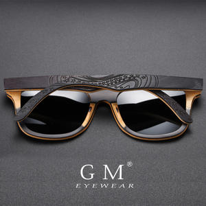 GM Wood Sunglasses Eyewear Retro Vintage Polarized Brand Designer Black S5832 Skateboard