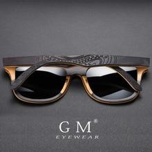 GM Brand Designer wood Sunglasses New Men Polarized Black Skateboard Wood Sunglasses Retro Vintage Eyewear Dropshipping S5832