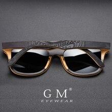 GM marka projektant drewniane okulary przeciwsłoneczne nowe męskie spolaryzowane czarne deskorolki drewniane okulary przeciwsłoneczne okulary Retro w stylu Vintage Dropshipping S5832