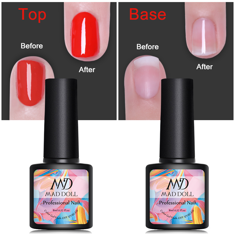 MAD DOLL Base and Top Coat Gel Nail Polish 8ml Soak Off Gel Lacque No Wipe Top Coat Opal Jelly Nail Art Gel Varnish Manicur in Nail Gel from Beauty Health