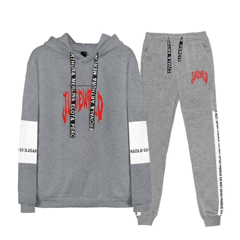YINUODAIL Printed Juice Wrld Cool Rapper Hajuku Two-piece Sweatshirt Sets Winter Hoodie Sweatshirt+Loose Raglan Trousers Suit