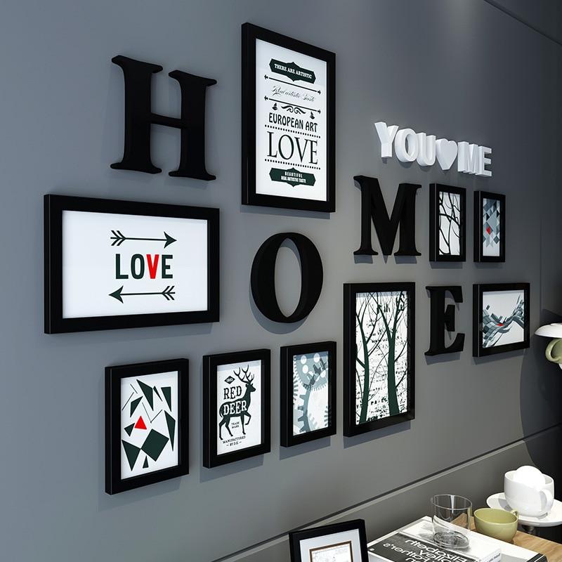 Cadre Photo nordique Simple noir blanc Photo mural mural suspendu multi-éléments Mix lettres décor à la maison classique mur Sticke