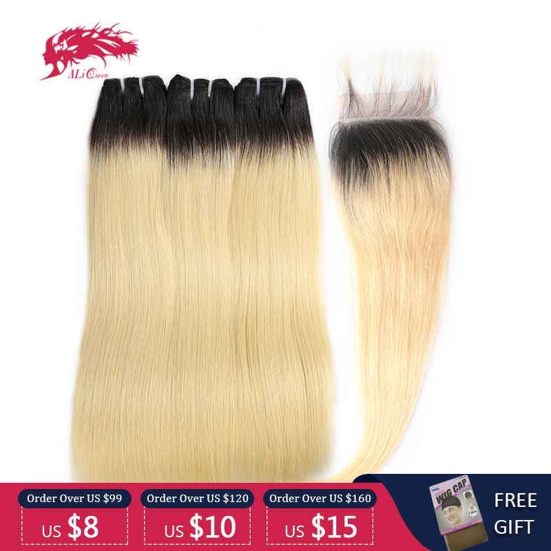 Ali Queen Hair Products Brazilian Straight Virgin Hair 3 Bundles With A Lace Closure Free Part Pre-Plucked Natural hairline