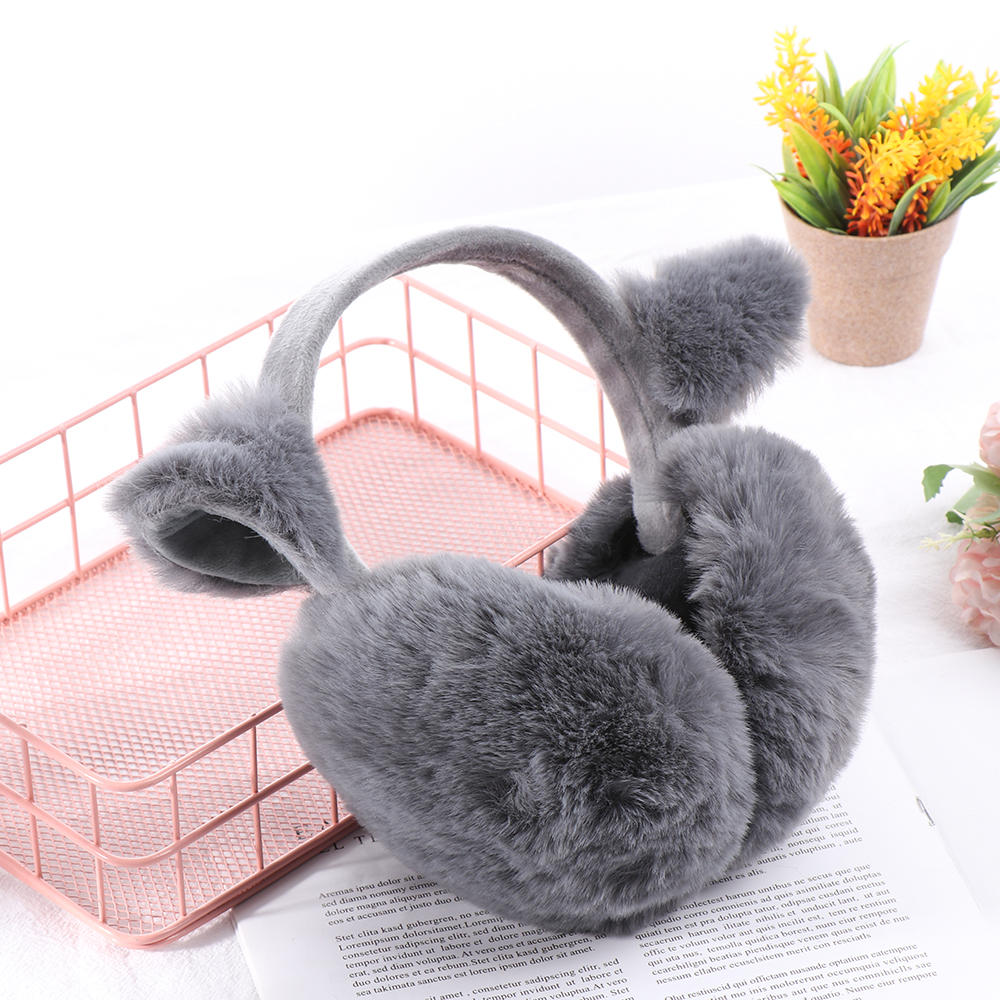 Brand Plush Female Winter Earmuff Warm Ear Muffs Headphones Girls Earmuffs Faux Fur Rabbit Ear Design Ear Protection Earmuf