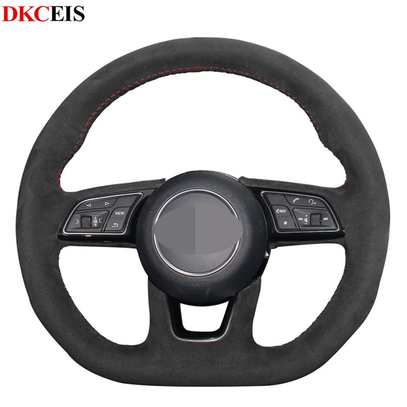 DIY Synthetic Black Soft Suede Car Steering Wheel Cover for Audi A4 (B9) A3 (8V) Avant A1 (8X) A5 (F5) Sportback Q2 2016 2019|Steering Covers| |  - title=