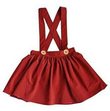 New 2 Colors Kids Baby Girls Suspender Skirt Overalls Yellow Red Skirt 0-3Y Children Sleeveless Solid Color Skirts(China)