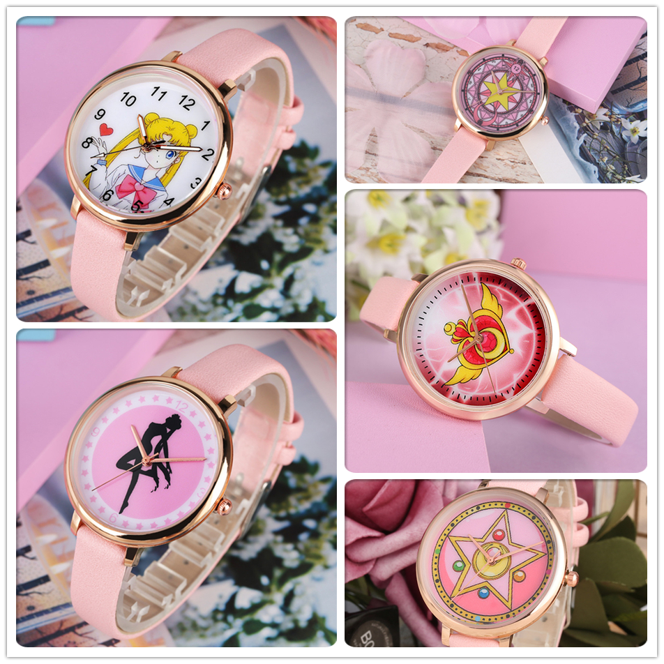 Sailor Moon Theme Student Watches Quartz Women Lovely Anime Pink Anime Women's Leather Wrist Watch Hot Gifts Clock For Girls