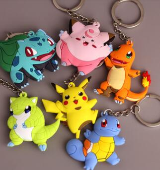 New Keychain  Monster Key Holder Pokemon Go Key Ring Pendant 3D Mini Charmander Squirtle Bulbasaur