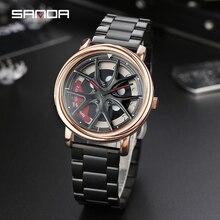 ساعة رجالية شخصية عجلة سيارة 360 درجة الدورية مقاوم للماء ساعة اليد الكوارتز النساء SANDA العلامة التجارية الفاخرة relogio masculino