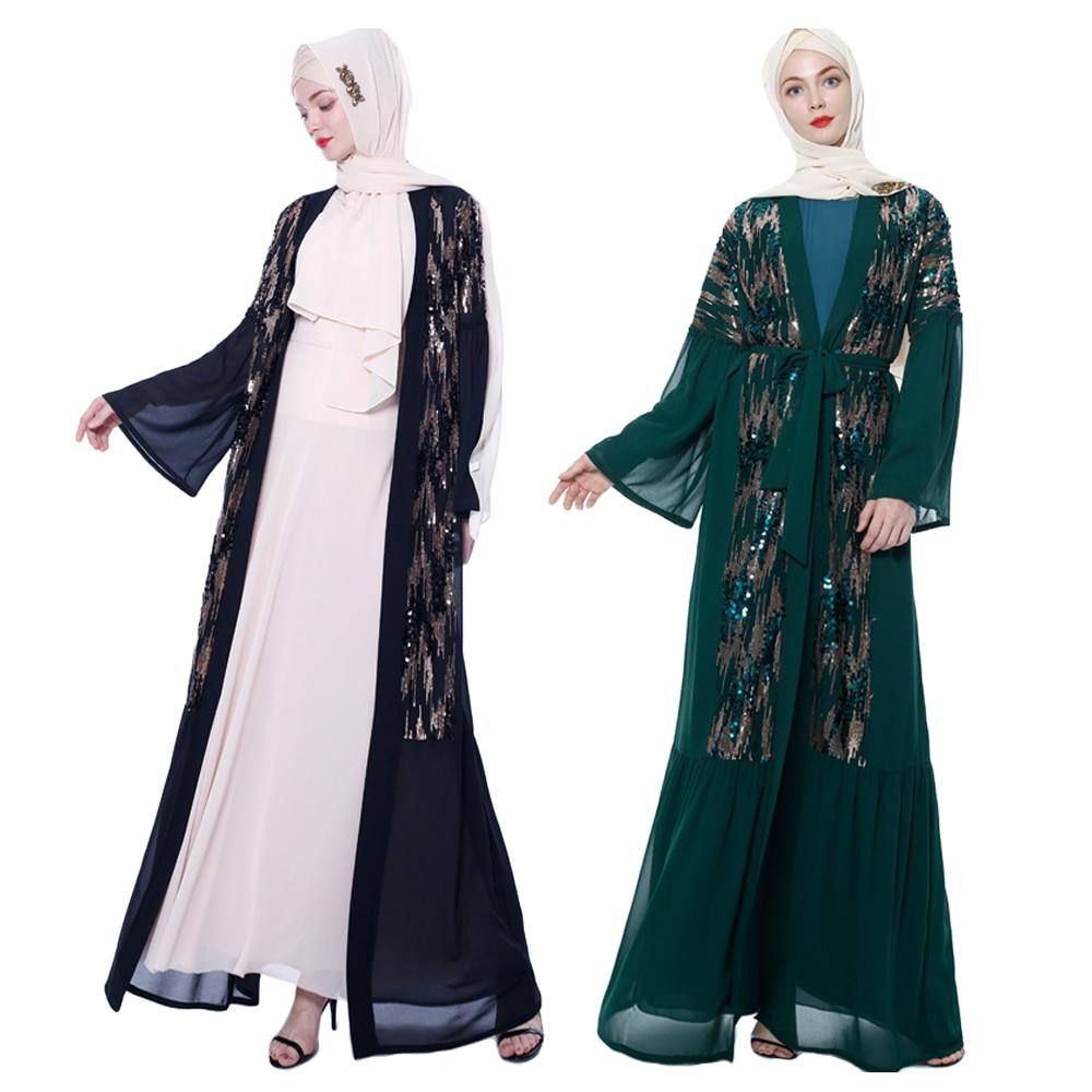 Abaya paillettes femmes ouvert Cardigan dubaï musulman à manches longues Maxi Robe Kimono Jilbab arabe islamique vêtements moyen-orient Robe Robe