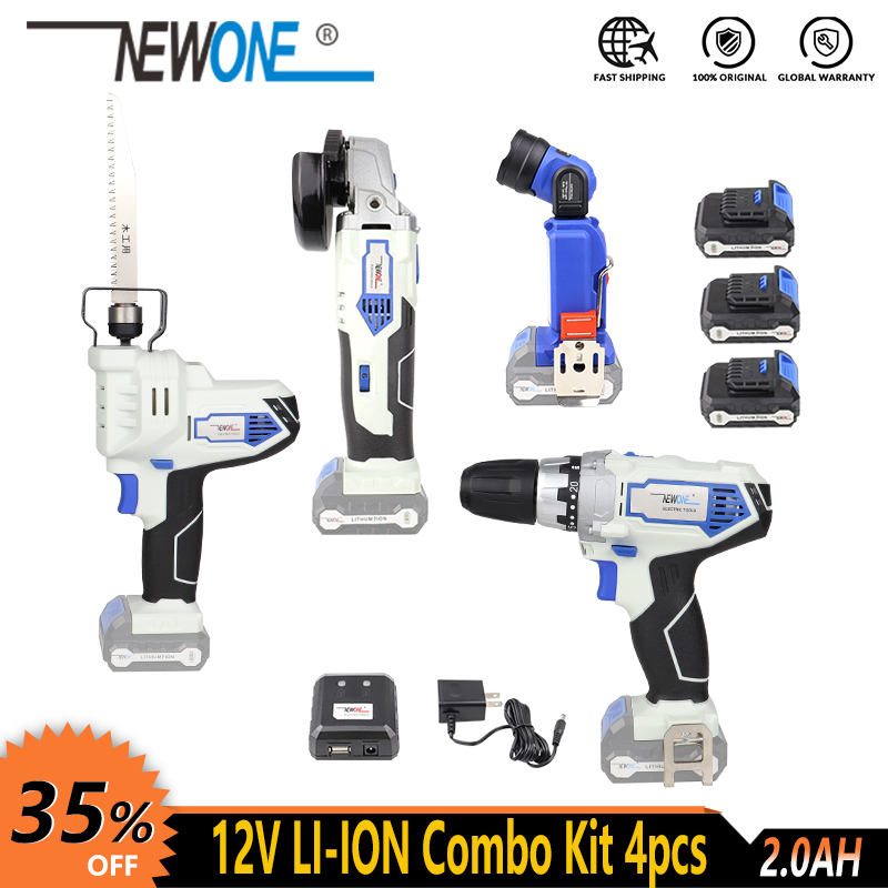 NEWONE 12V Electric Cordless Li-ion Angle Grinder Drill Reciprocating Saw LED Flashlight Lamp Power Tool Combo Kit With Battery