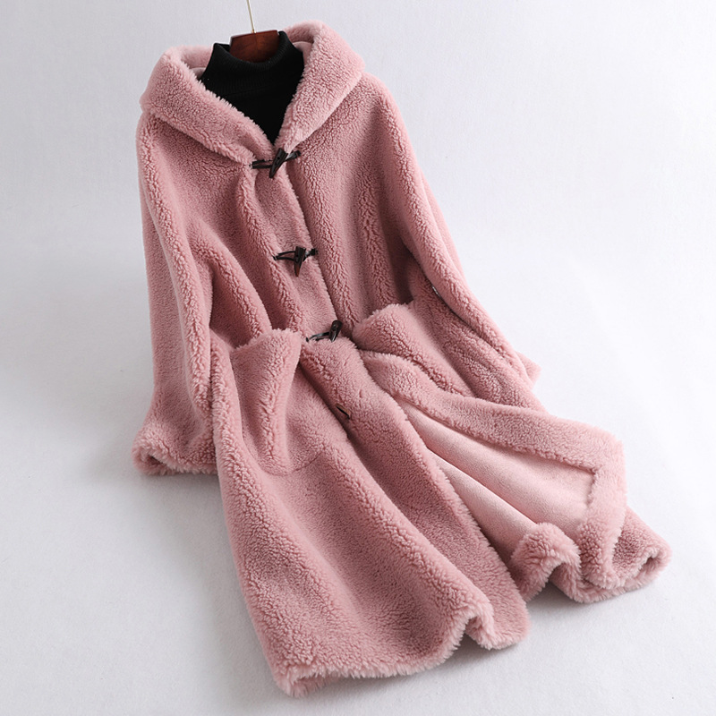 New Boutique Women's Mid Long Wool Jackets Winter Thickening Warm Female Lamb Fur Coats Fluffy Teddy Hooded Outerwear Overcoat