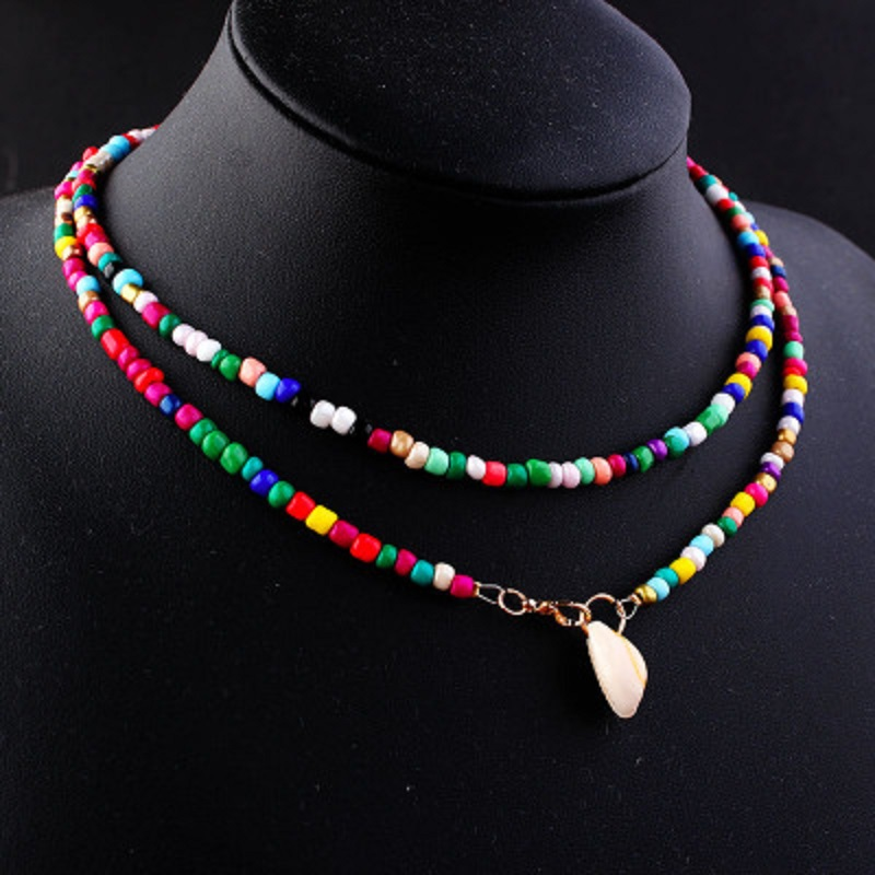 Multicolor Beads Star Moon <font><b>Sun</b></font> Chokers Necklaces for Women Bohemian Colorful Beaded Pendant <font><b>Jewelry</b></font> Short Necklace Gifts image