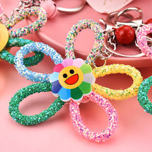 High Quality Colorful Sun Flower Key Chain Sequin Drill Rope Keychains Women Bag Funny Expression Bell Key Ring Pendant Gifts(China)