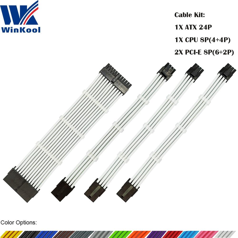 WinKool Female to Male 18AWG Sleeved PSU Extension Power Cord   Cable Kits 1X ATX 24P CPU 8P 2X PCI-E 8P