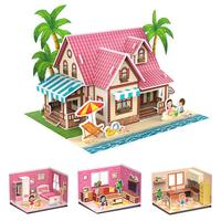 Three-Dimensional 3D Model Puzzles Handmade DIY Houses Building Blocks Kids Educational Toys for Children Gifts