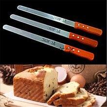 Cuchillo dentado de acero inoxidable de 10 pulgadas, herramienta para cortar pan con mango de madera Natural, para tostadas, cocina casera, cortador de galletas de pastelería