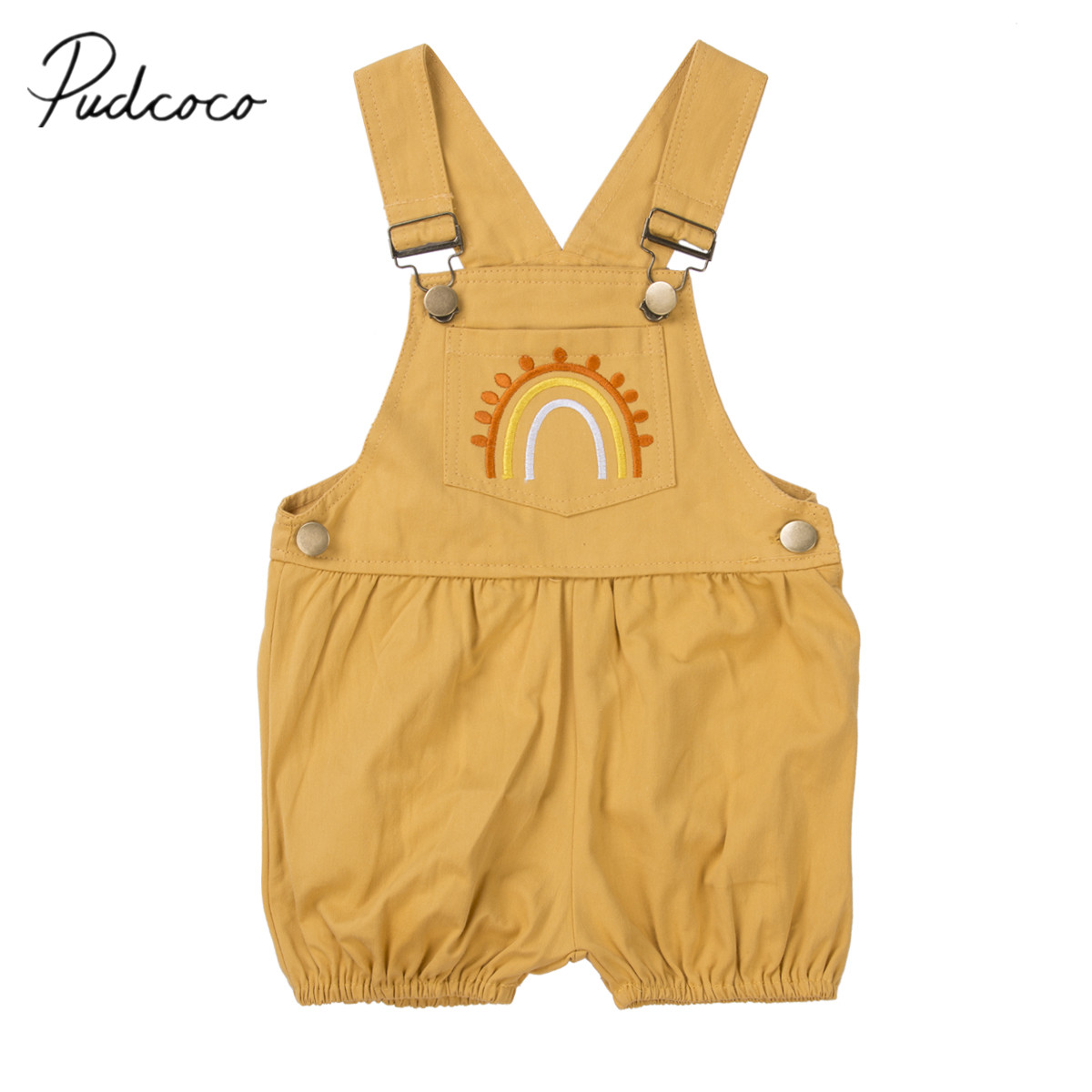 2020 Baby Summer Clothing Cute Toddler Kid Baby Girl Clothes Embroidery Rainbow Romper Jumpsuit Overalls Bib Pants Outfit 6M-4T