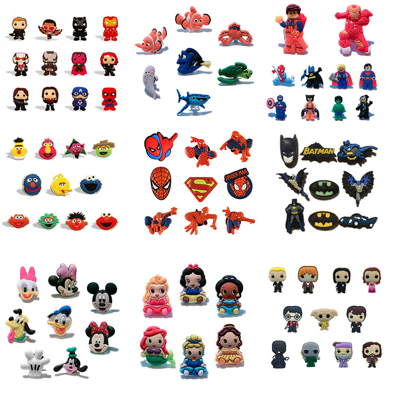9-10pcs/set Superhero Spider Man Super Mario Shoe Charms Shoe Accessories For Kids Croc Decorations Jibz Buckles Fit Bands Gift
