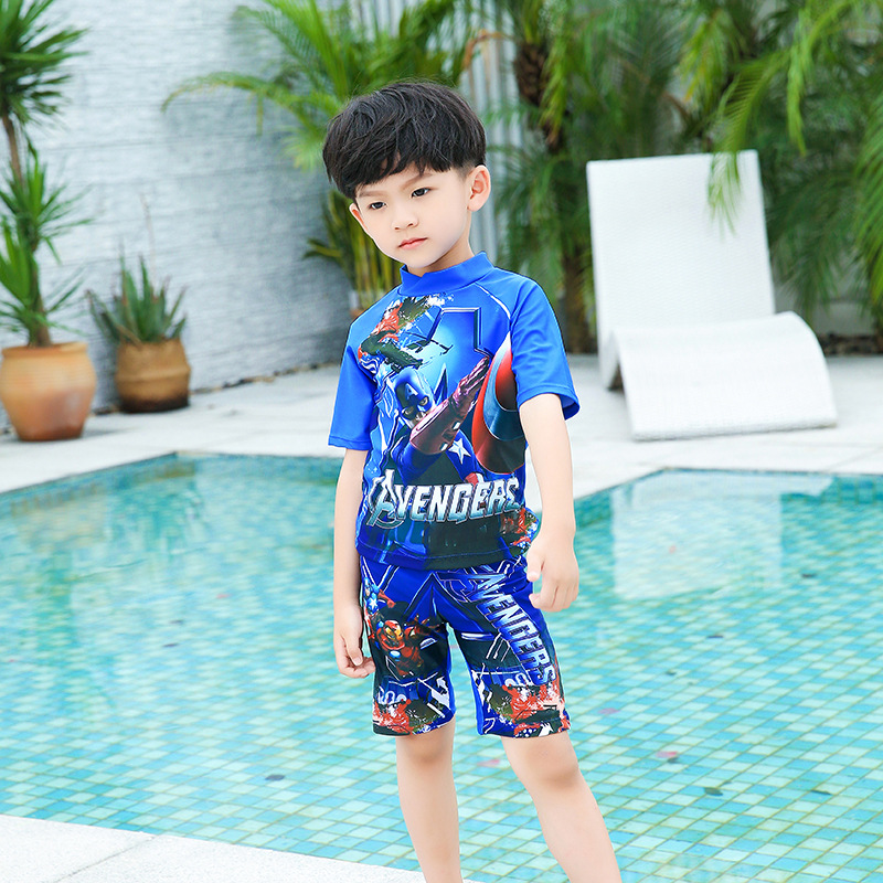 2018 BOY'S Siamese Swimsuit Cartoon Man Hooded Half Sleeve One-piece Boxer Boy Bathing Suit