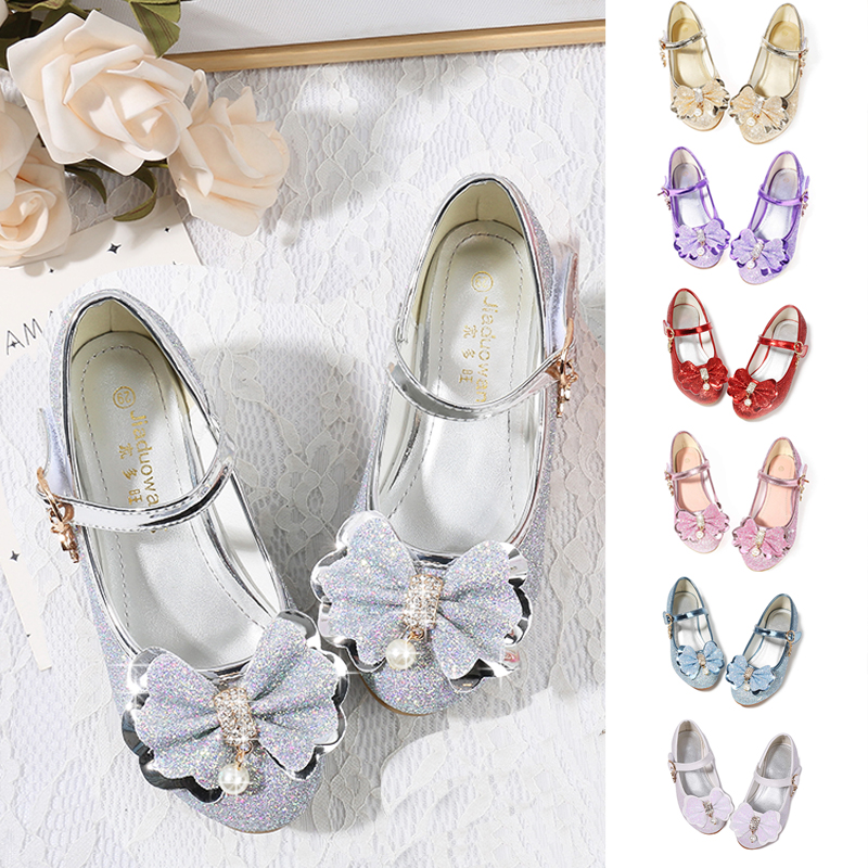 Girls Glitter Shoes Platform Dress Toddler Autumn 2019 Shoes Children Little Kids Cute Flower Size 1 5-13 Y 6 Heel Princess