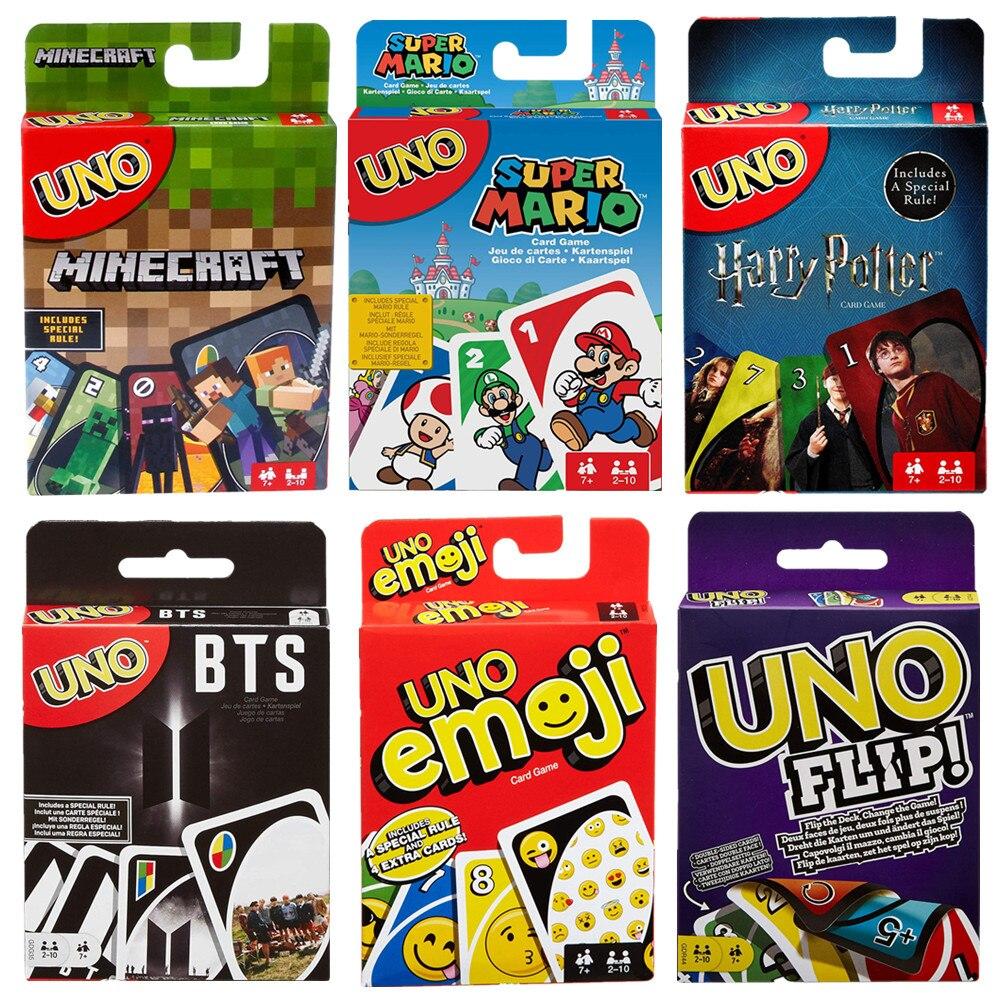 Мульти-версия Mattel UNO семейная карточная игра BTS эмодзи флип-Джерри-оплата Mattel настольная игра игрушки для вечеринок