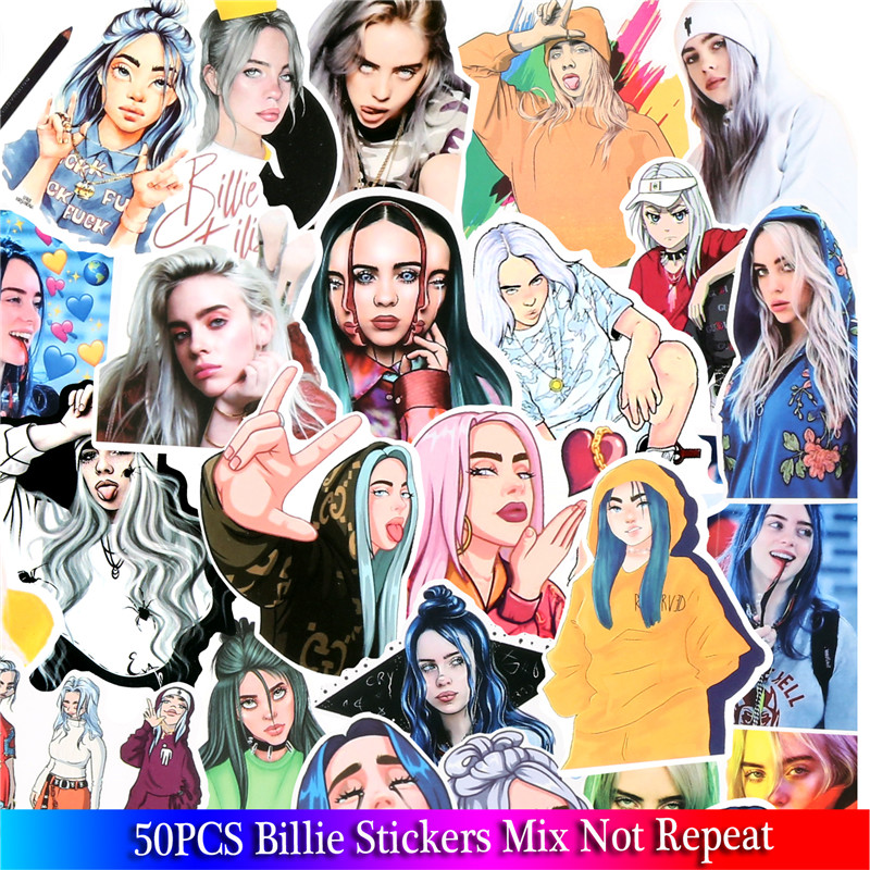 50Pcs Waterproof Billie Eilish Cartoon Stickers Skateboard Fridge Snowboard Guitar Motorcycle Laptop Sticker Classic Toy Sticker