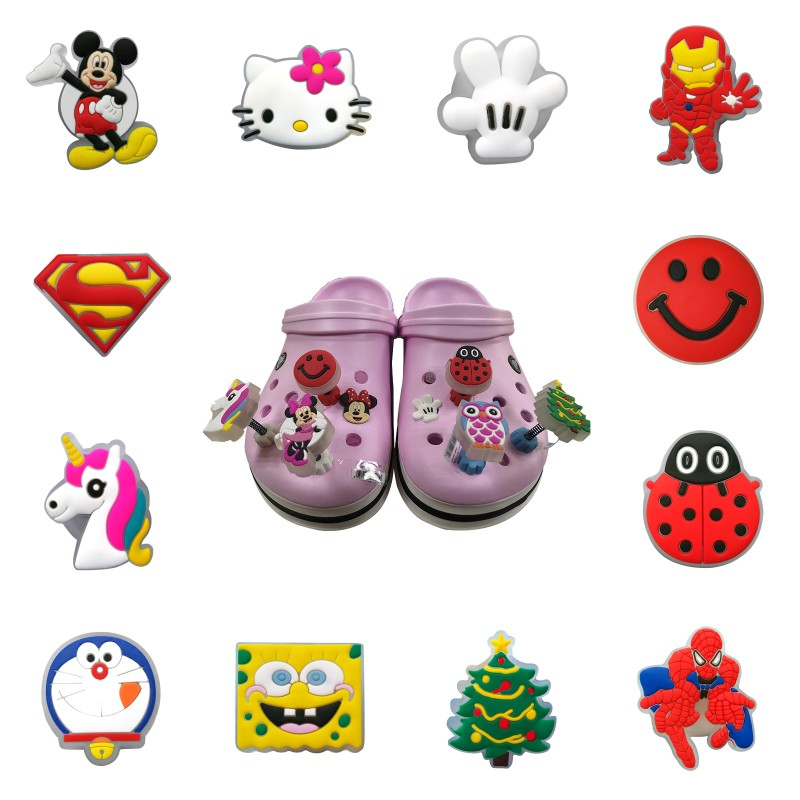 1pc Cartoon Figures LED Lighted Flashing Spring Standing Shoe Charms For Kids Croc JIBZ Fit Band Bracelets Party X-mas Gift