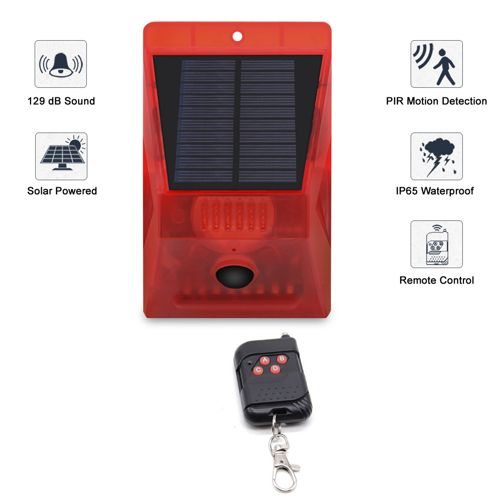 Solar Powered PIR Motion Sensor Alarm With Remote Control 129dB Siren Strobe For Home Garden Shed Caravan Security Alarm System