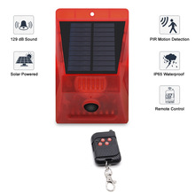 Solar Powered PIR Motion Sensor Alarm With Remote Control 129dB Siren Strobe For Home Garden Shed Caravan Security Alarm System
