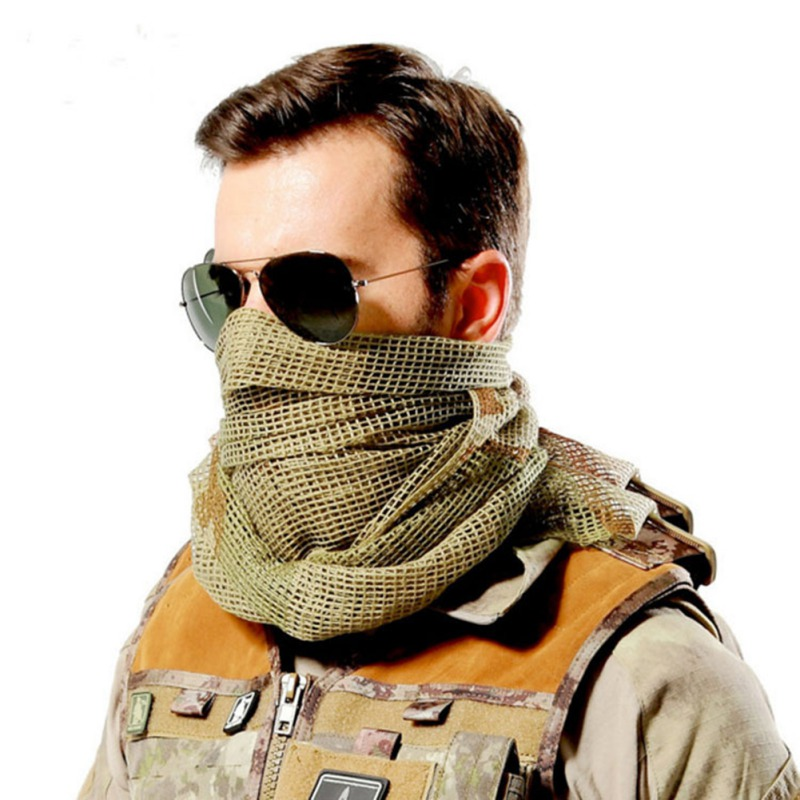 <font><b>190*90</b></font> cm Scarf Cotton Camouflage Tactical Mesh Scarf Sniper Face Scarf Veil durable for Camping Hunting Hiking image