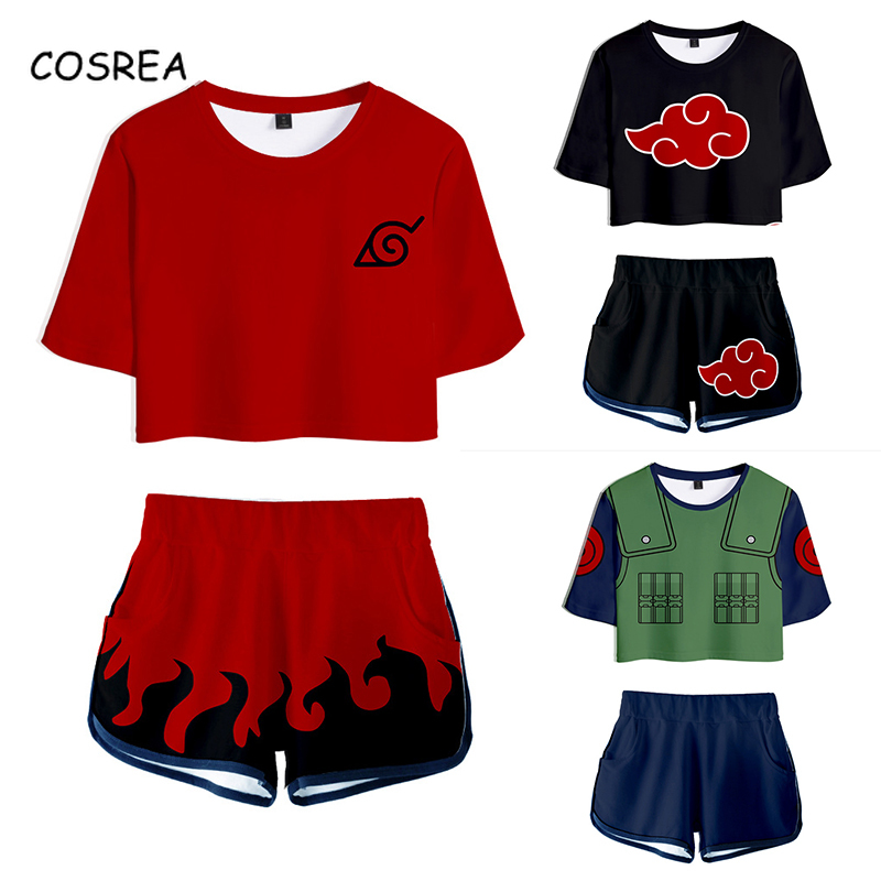Cosrea Naruto Cosplay Costume T Shirt Tees Uzumaki Akatsuki Shirt Haruno Sakura Sport Suit Shorts Disfraz Clothes T-shirt Girls