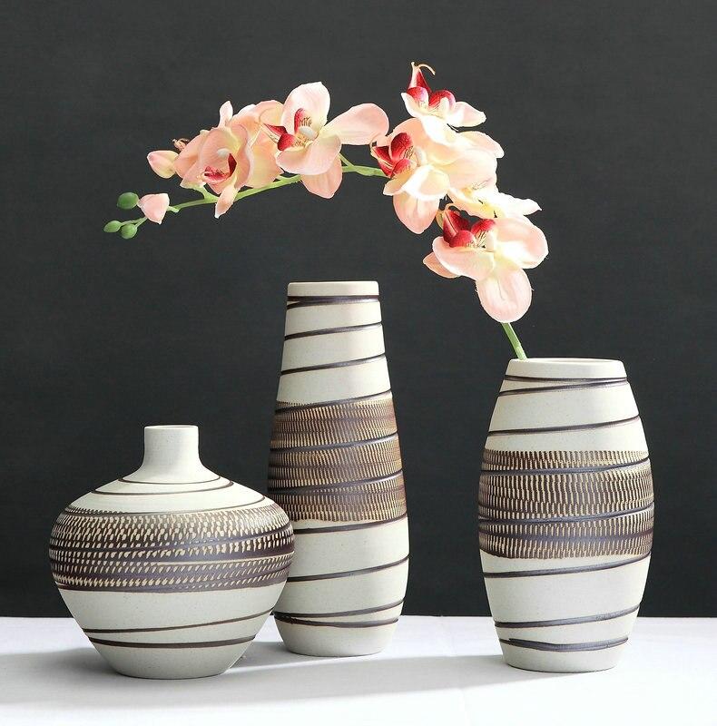 Simples Três-peça de Cerâmica de Jingdezhen Vaso de Cerâmica Artesanato Enfeites de Sala de estar de Desktop Flor Floreros de Decoracion