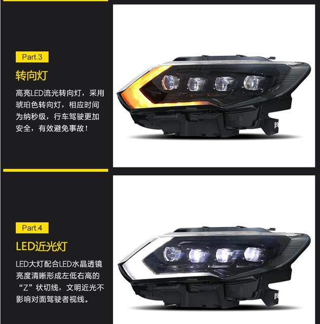 2Pcs 2017 ~ 2019yรถBupmer Head LightสำหรับNissan X Trailไฟหน้าRogue X Trail Xtrailรถอุปกรณ์เสริมLEDหมอกX Trailไฟหน้า