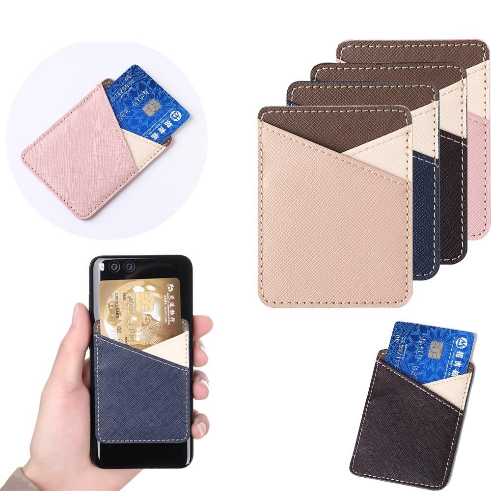 1Pcs New Fashion ID Credit Card Holder Adhesive Sticker Mobile Phone Wallet Pocket Elastic Cellphone Pocket Stick-on Card Bag