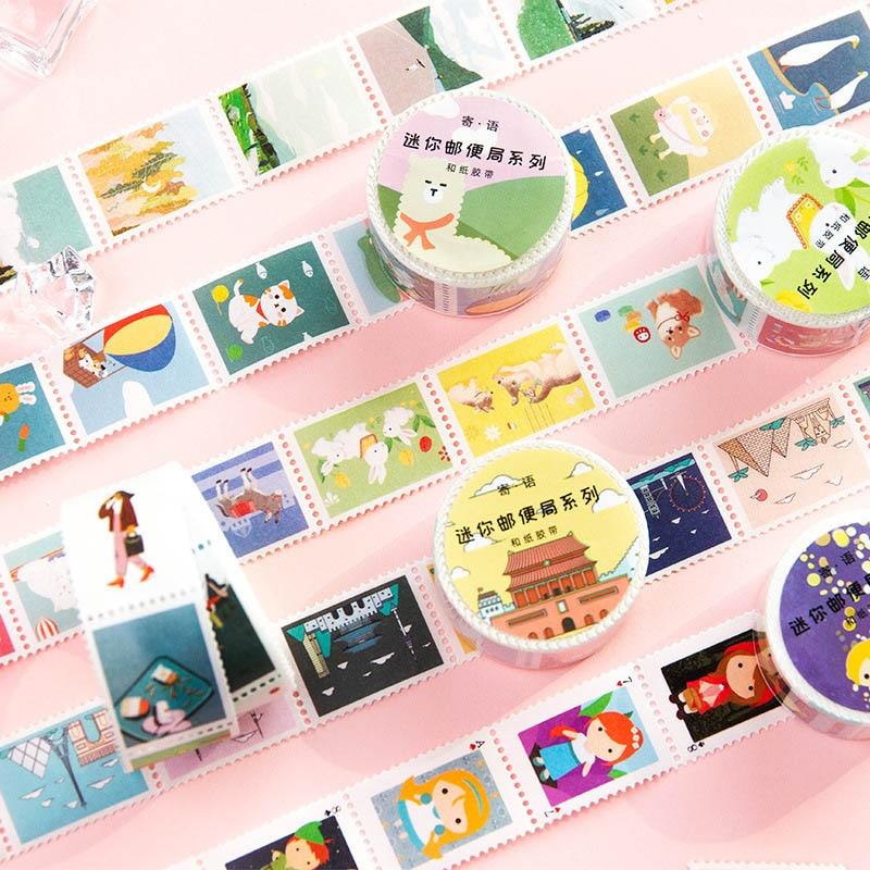 1PcKawaii Adhesive Tape Cute Animal Stamp Washi Tape Decor Masking Tape For Kid Scrapbooking DIY Photo Album Supplies Stationery